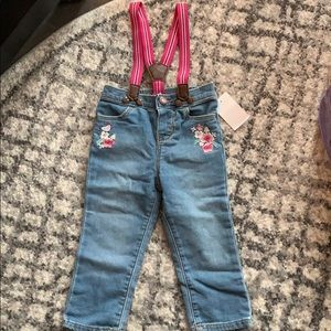 Embroidered jeans with suspenders